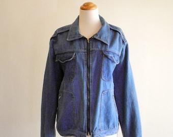Light 70s / 80s denim UNISEX zipper jean jacket sz. Medium / Large