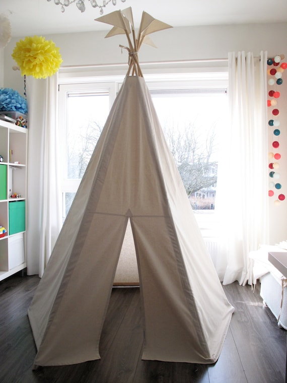 big teepee no poles plain fabric tent and flags only. Black Bedroom Furniture Sets. Home Design Ideas