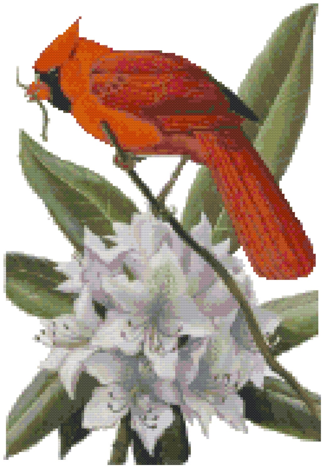 West Virginia State Bird & Flower Counted Cross Stitch Pattern