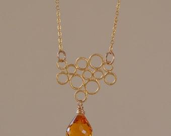 Citrine Teardrop Necklace. Gemstone Gold Necklace. 14K Gold Filled Necklace. Fine Jewelry. NOVEMBER Birthstone.