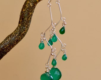 Green Quartz Silver Earrings.  Sterling Silver Gemstone Earrings.  Green Cascade Briolette Earrings. Fine Jewelry.