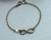 Infinity Bracelet.  Swarovski Ivory Pearl Skinny Bracelet. For Wife. Partner. Mother and Daughter.  Anniversary. Best Friends.