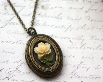 Tiny Ivory Rose Flower Nature Inspired Oval Locket Necklace. Bridesmaids Gift. Vintage Style. Rustic, Nature Inspired. For Wife. New Baby