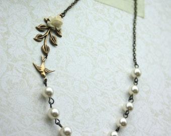 Swallow Bird Leaf Cream Flower, Ivory Cream Pearls Necklace. Brass Bird Resin Flower, Brass Leaf, Swarovski Pearls Necklace. Bridal Necklace