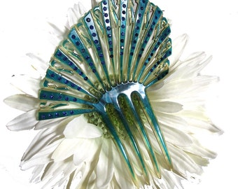 Art Deco Hair Comb 20s Hair Accessory Turquoise Rhinestone Mantilla Hair Comb