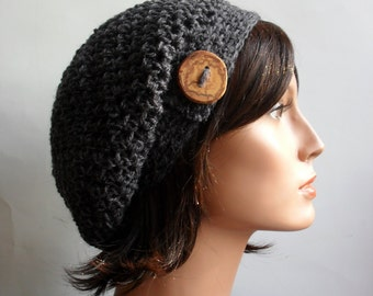 Crochet Slouchy Beanie Hat - Handmade Grey Hat - hemp wool Button Tab Slouchy Hat Winter Accessories Hemp Wool Made to Order