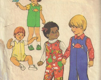 Jumpsuit Long Sleeve Shirt Toddler Girl and Boys Simplicity 7322 Child Vintage 1970s Sewing Pattern Size 2