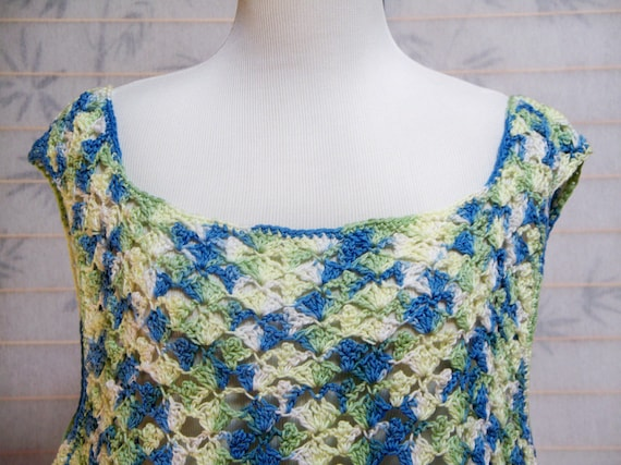Tank Top Blue and Green Cotton