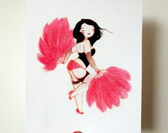 Burlesque Bombshell - 8x10 archival fine art print - hot pink fan dancer