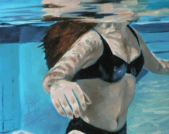 suspended underwater swimmer giclee art print