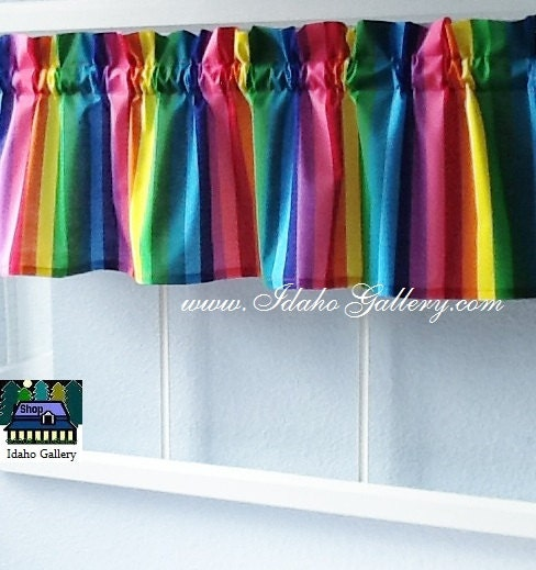 Rainbow bright colorful window treatment childs room playroom for Cortinas transparentes