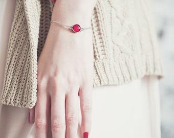 Red rose charm bracelet - Tiny Red Bracelet - Red Rose Jewelry - Red Bridesmaids bracelet - Dainty bracelet - Red Flower bracelet (BT023)