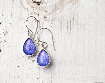 Lavender drop earrings - Silver Teardrop earrings - Hydrangea earrings - lavander silver earrings - Pastel jewelry  (E136)