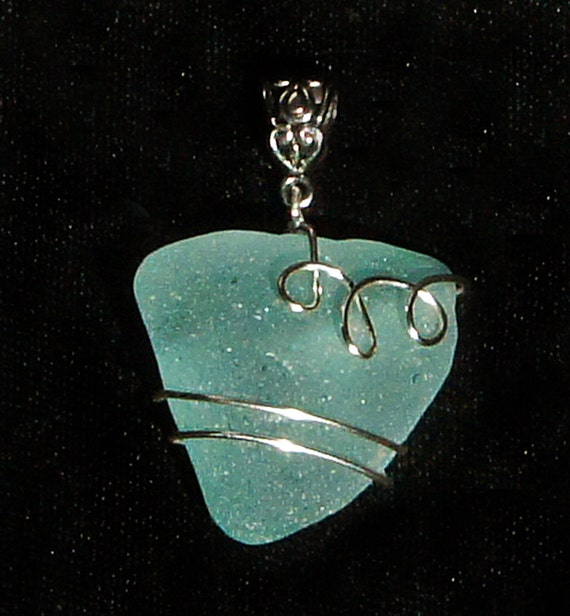Aqua Sea Glass Pendant  for European or Other Chains, Cords, and Ribbons