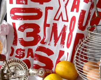 Tea Towel, screenprinted  on linen cotton, red typography design