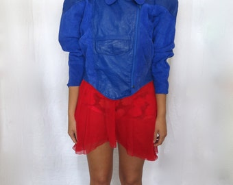 The Electric Blue Rocker Suede Jacket