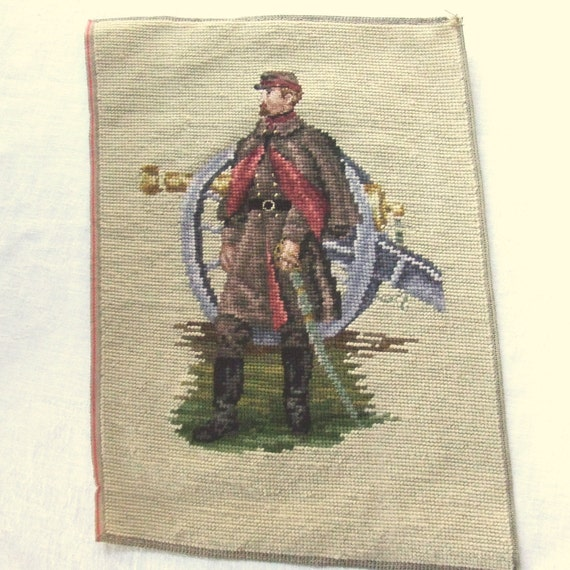 Confederate Officer Vintage Needlepoint