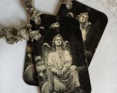 Angel Statue Hang Tag Gift Tag Vintage Inspired