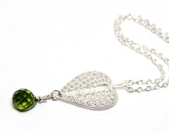 Claire Peridot necklace -  silver, elegant, medieval, gothic,  filigree, romantic, limited, handmade  - Free shipping