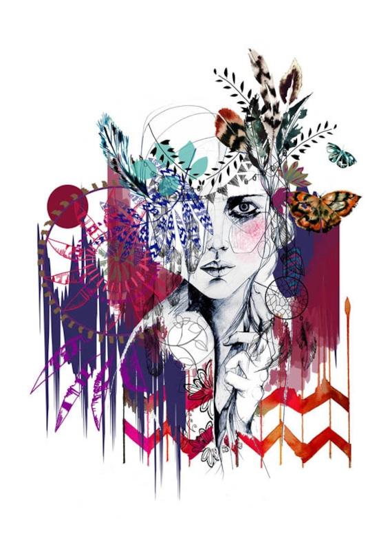 Tribal Girl // A3 Giclée print / FASHION ILLUSTRATION by Holly Sharpe