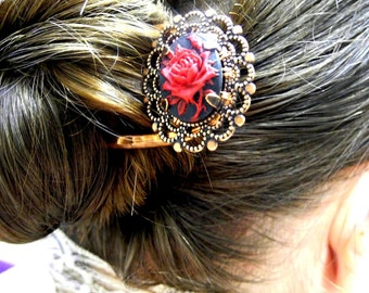 Rose Hair Fork, Made to order, Victorian, Hair Pin, Hair Jewelry, Gothic, hair accessory