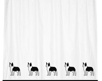 Boston Terrier Dog Shower Curtain  -  Your Choice of Colors