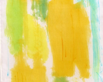 Abstract  Hand painted silk scarf. Bright Yellow lime scarf. Silk painting by Dimo. Painted scarves. Woman fashion accessories scarf.