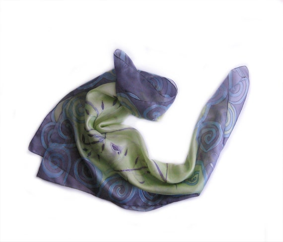 Square silk scarf painted by hand. Lavender, green scarf with spirals and buds. Hand painted scarf. Christmas gifts for women. 35 by 35