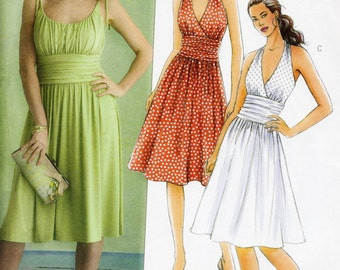 Butterick 5029 UNCUT Misses Halter or Gathered Bodice Dress Pattern Size 8-14 Bust 31.5-36