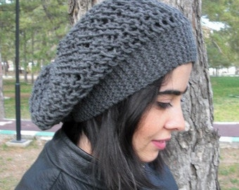 Knit   Beanie Hat  Beehive beret in Charcoal Gray  womens hat   Slouch Beanie  Fall Autumn Winter Fashion  Accessories