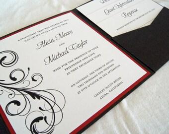 Custom flourish pocketfold wedding invitation (SAMPLE)
