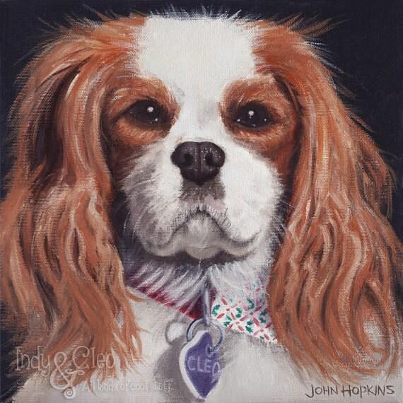 Dog Art Print, Cavalier King Charles Spaniel Art, Cavalier Art Giclee, Pet Portrait, Home Decor Wall Art, Dog Lover Gift, Cleo Cleopatra