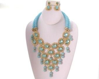 Bali - OOAK Bib Statement Necklace and Earring Set, Runway Look