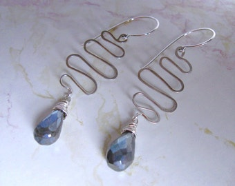 Mystic Labradorite Earrings- Snake Design, Hammered Wire, Sterling Silver