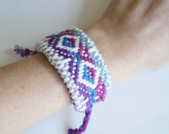 SALE!! Handwoven Purple, Blue, and Fuchsia Diamond Cuff Bracelet (original price: 42.00)