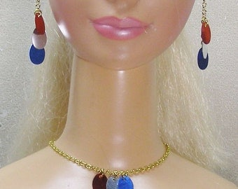 Patriotic set in red white and blue ovals on a gold chain