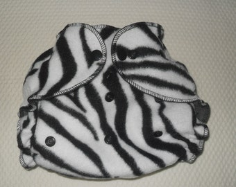 Zebra fleece diaper wrap