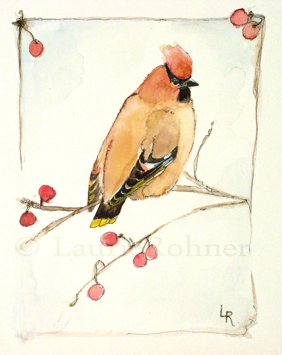 Watercolor Original Nature Painting Cedar Waxwing Woodland Bird by Laurie Rohner