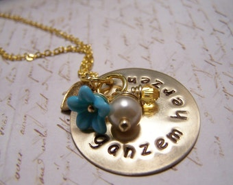 German Necklace...Von Ganzem Herzen  ...With All My Heart...Frienship Love Soul Mate