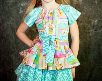 Easter Bunny Girls Triple Layered Ruffle Dress - Size 8 - Easter Bunny - Chevron Fabric