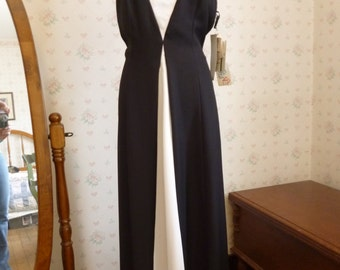 SALE Vintage Maxi Dress, Gown, Black and White, Beaded, Reggio, New With Tags, NOS, Size 10