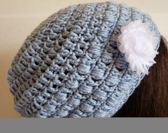 Crochet Eco Friendly Beanie in Blue, Organic Slouchy Hat