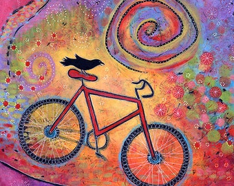 "Bicycle and Raven Archival Print - 8"" x 8"" - Just Ride and Fly"