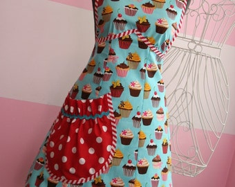 Vintage Apron - Womens Teal and Red Cupcake Apron