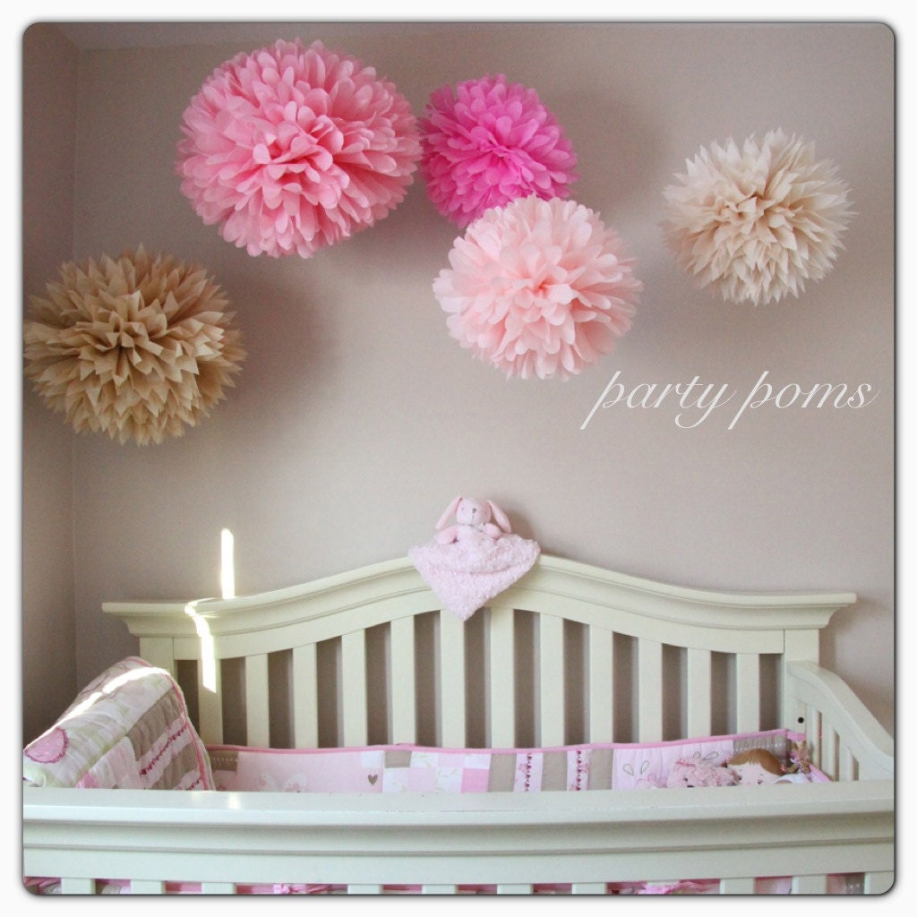 cherry blossom tissue paper pom poms nursery decor party