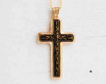 Vintage CROSS Pendant SARAH COVENTRY 1978 Limited Edition Cross Necklace Black & Gold