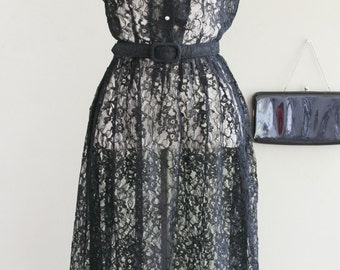 1950s Black Lace Shirtwaist Dress - Classic Style - Special Occasion - Pin Up - Bombshell - Traditional - Lace Lacey Dress - LBD - 34 Bust