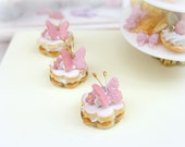 MTO-Pink Butterfly Cream-Filled French Sablé - 12th Scale Miniature Food