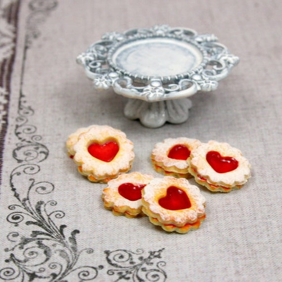 Linzer Sablé Biscuits on Shabby Chic Stand - 12th Scale Miniature Food