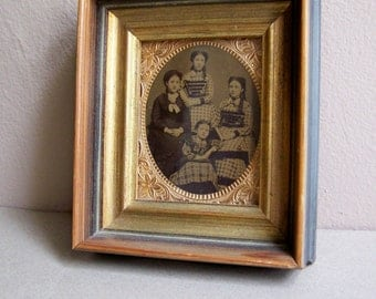 Antique Photo ~ Female Family Photo ~ Small Framed Photo ~ Group of 4